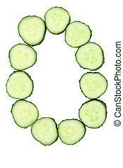 Vegetable Alphabet of chopped cucumber  - letter O
