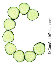 Vegetable Alphabet of chopped cucumber  - letter C