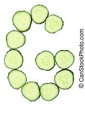 Vegetable Alphabet of chopped cucumber  - letter G