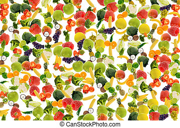 vegetable and fruit background - colorful fresh vegetable...