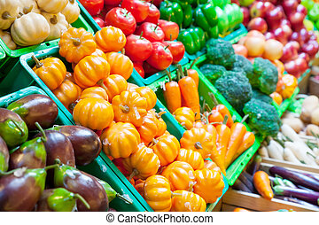 Vegetable and fruits at a market