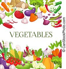 Vegetable and healthy food menu poster. Fresh carrot, tomato, pepper, onion, broccoli, cabbage, garlic, cucumber, cauliflower, kohlrabi and radish. Vegetarian food, organic shop design