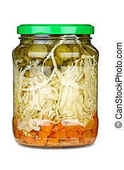 Vegetable assortment marinated in glass jar
