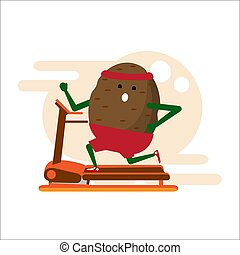 Vegetable athlete. Thick potatoes running on a treadmill, doing exercise on the simulator. Flat style. Vector.