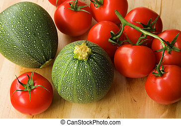 Fresh tomatoes and courgettes