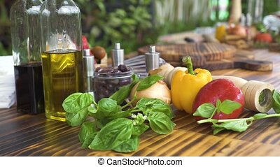 Vegetable background on wooden kitchen table close up. Fresh...