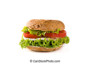 Vegetable bagel sandwich with tomato, lettuce, and mozzarella cheese isolated on white background.