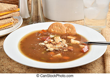A bowl of hot vegetable beef soup