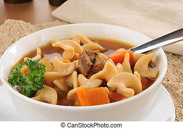 Closeup of a bowl of vegetable beef soup