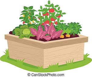 Illustration of a Square Garden Container Filled with Vegetables of Different Types