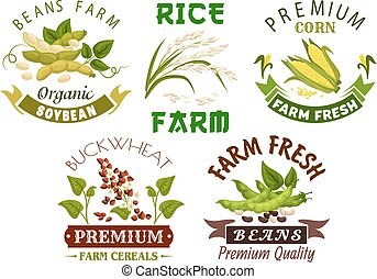 Vegetable, cereal, bean farm emblem set design - Vegetable,...