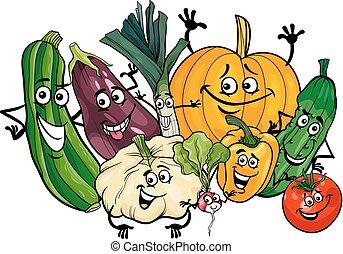 vegetable characters group cartoon illustration - Cartoon...