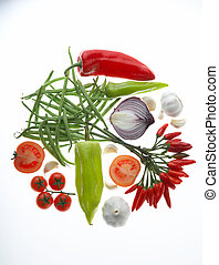 different vegetables on white background - verschiedene Gemuesesorten auf weissem Hintergrund