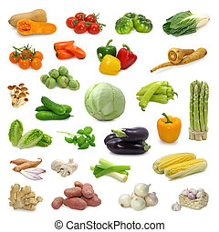 vegetable collection isolated on a white background