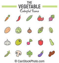 Vegetable colorful line icon set, food signs