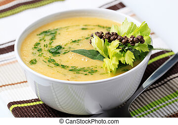 Vegetable cream soup - Cream of vegetable soup - closeup