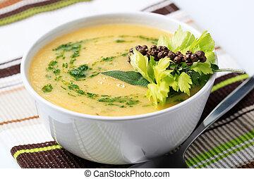 Vegetable cream soup - Cream of vegetable soup - closeup
