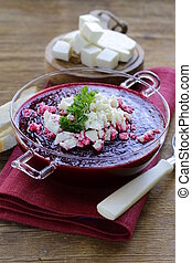 vegetable cream soup of beetroot