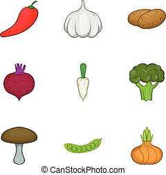 Vegetable culture icons set, cartoon style