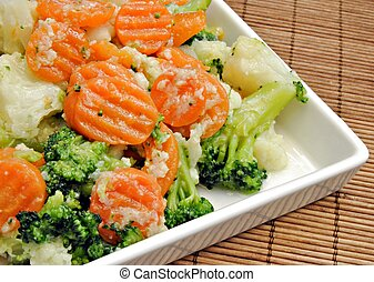 Vegetable dish consisting of carrots, broccoli and ...