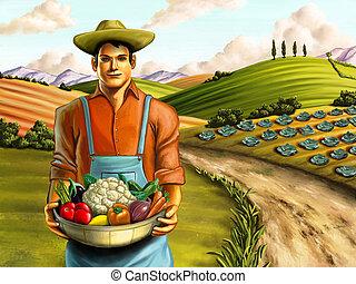 Vegetable farming - Farmer holding a basket full of fresh...