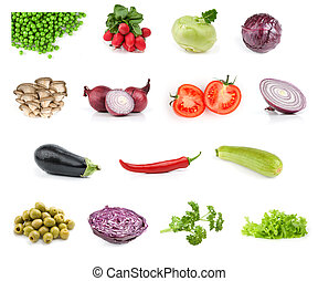 vegetable food collection isolated on white background
