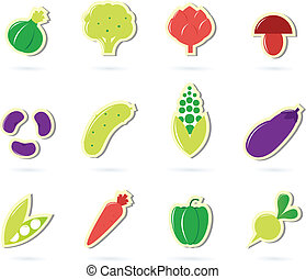 Vegetable food retro icons collection isolated on white
