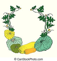 Vegetable frame isolated on a white background.