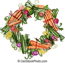 Vegetable frame, sketch for your design