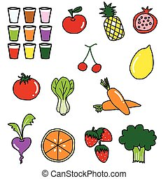 vegetable fruit drawing