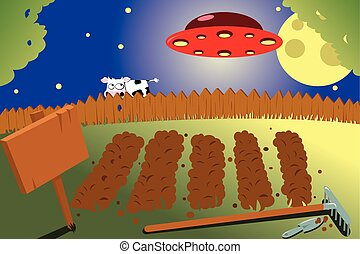 vegetable garden by night and a ufo