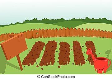 Vegetable Garden - a vector cartoon represening a cultivated...