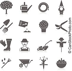 Vegetable garden icons set - Vegetable garden watering hose...