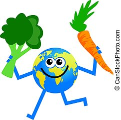 vegetable globe - cartoon world globe man holding a carrot...
