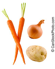 Vegetable group (2) - Carrots, onion and potato isolated on...
