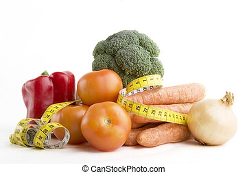 Vegetable Group - Vegetable group of food with tape measure