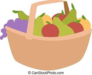 Vegetable harvest basket vector illustration