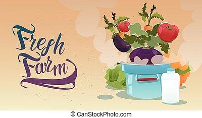 Vegetable Harvest Eco Fresh Farm Logo