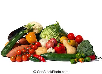 Vegetable harvest isolated - A big display of healthy ...
