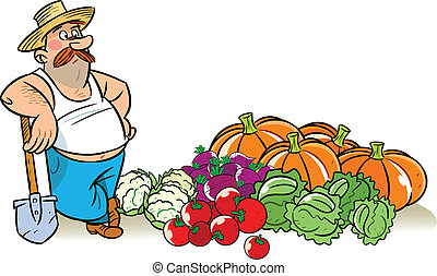 vegetable harvest - The illustration shows a man in a hat...