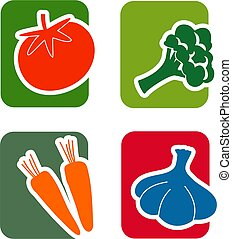 Vegetable Icon Set - A set of four, two color icons on the...
