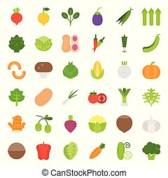 Vegetable icon set, flat style vector illustration