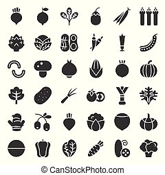 Vegetable icon set, solid style vector illustration