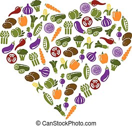 vegetable icons in heart