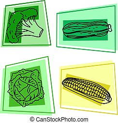 vegetable icons - selection of vegetables - broccoli,...
