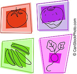 vegetable icons - selection of vegetables - tomato, swede,...