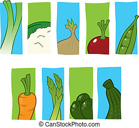 Vegetable icons - Series of basic, stylized icons of...