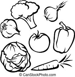 vegetable illustration - black outline on white background