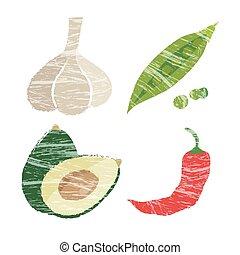 Vegetable illustration, garlic, avocado, snow peas and red...