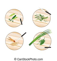 Garlic Chives, Water Mimosa, Okra and Fingerroot - Vegetable...